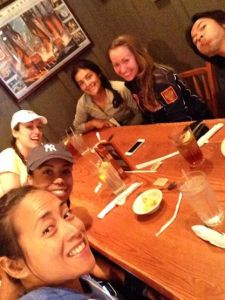 Post-race dinner selfie with Talisa, Mary, Maria, Violet, and Eric @ Cracker and Barrel.